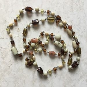VINTAGE neutral glass bead & wire long necklace